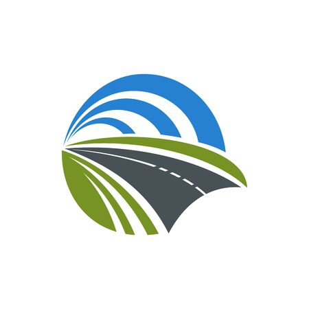 Autostrada expressway sign isolated motorway. Vector road to tunnel tarred freeway underground passage Illustration