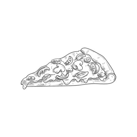 Cheese pepperoni pizza isolated fastfood snack. Vector triangle slice of bread with tomato and sausages