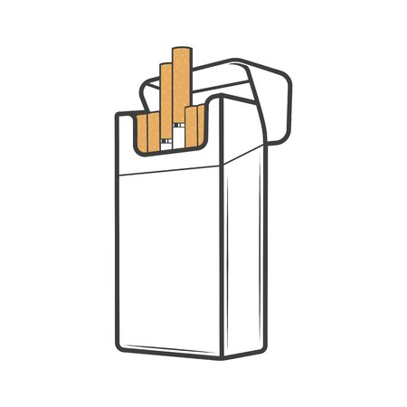 Cigarette pack crumpled and torn, vector. Cigar with filter open and closed packaging boxes, empty and full carton packages blank mockup. Smoking tobacco, nicotine addiction, bad habit Illustration