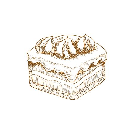 Piece of cake topped by cream isolated sweet dessert sketch. Vector pastry food, chocolate tiered pie