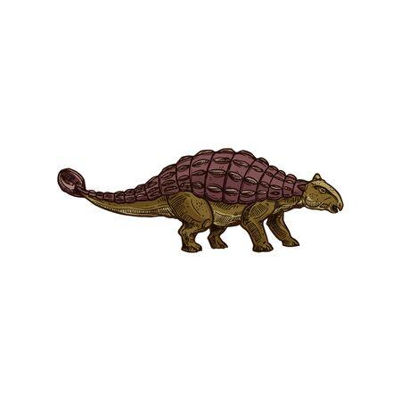 Spinosaurus isolated prehistoric dino. Vector animal of jurassic period, ankylosaurus dinosaur sketch