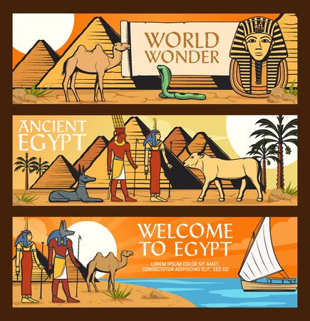 Ancient Egypt travel, wonders and famous landmarks. Cairo pharaoh pyramids and sphinx, Ancient Egypt gods and sacred animals, desert camels and felucca boat. Welcome to Egypt, vector banners Illustration