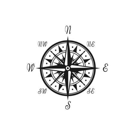 Compass vintage monochrome symbol with world sides isolated wind of rose. Vector nautical navigation map Vettoriali