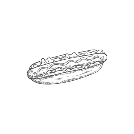 Hotdog bun with sausage and ketchup isolated sketch. Vector fastfood hot dog, takeaway food