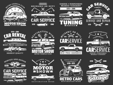 Retro vehicles, car tuning, repair service icons. Tuning and mechanic garage station. Vintage retro cars motor show, engine restoration woks, vehicle rental emblems, crossed tire mount tools 矢量图像