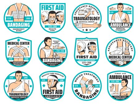 First aid, traumatology, bandage and clinic emergency ward vector icons. Accident injury fracture bandaging of arms, legs and head, body wound treatment, trauma first aid nursing service Ilustración de vector