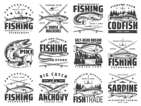 Fishing sport club badges, fishes and rod hooks tackle vector icons. Fisherman tournament of big fish catch, ocean tuna, sea bass and horse mackerel, sardines and ocean anchovy, river pike and catfish