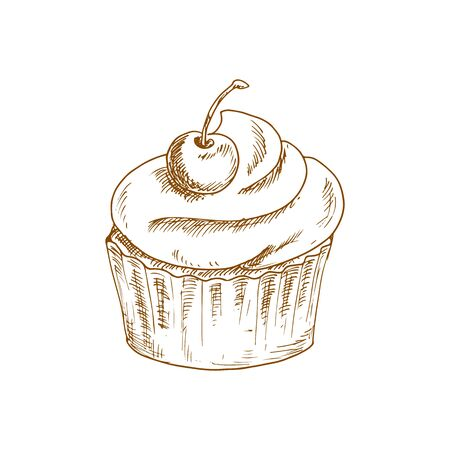 Cake muffin topped by cherry isolated monochrome sketch. Vector pastry bakery food with fruit  イラスト・ベクター素材