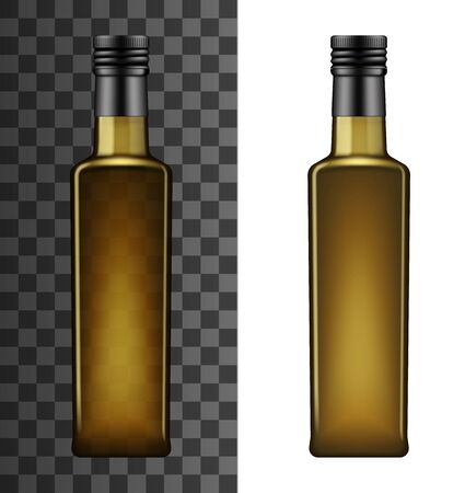 Olive oil bottle, square shape of brown glass with black lid. Vector 3D realistic mockup template of Italian, Greek or Spanish olive cooking oil, isolated on white and transparent background Ilustração