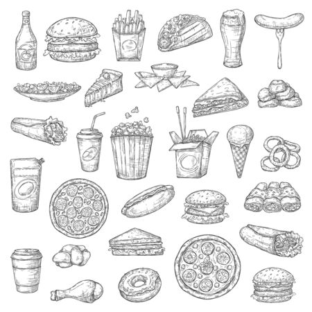 Fast food burgers, drinks and desserts vector sketch icons. Pizza and hamburger sandwich, chicken wings, nuggets and hot dog, burrito and tacos, french fries and noodles, ice cream and popcorn