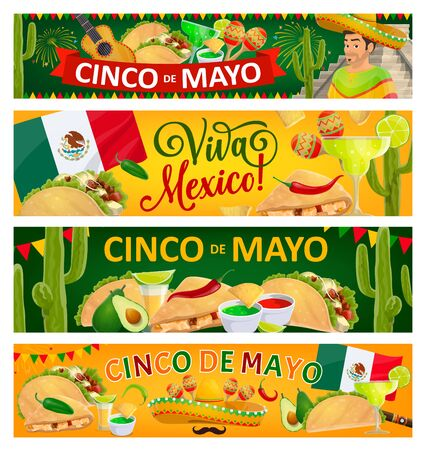 Cinco de Mayo holiday and Viva Mexico vector banners of Mexican fiesta party sombrero hats, maracas, cactuses and chili peppers. Mexican flag, mariachi guitar and mustache, tacos and nachos, tequila