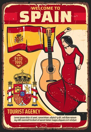 Welcome to Spain, tourism and travel agency vector vintage poster. Spanish culture and historic landmarks tours, flamenco dance and traditional guitar music, Madrid and Seville sightseeing Ilustração