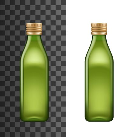 Olive oil bottle, vector 3D realistic blank mockup. Extra virgin olive oil green glass bottle, square shape with golden lid isolated on white and transparent background
