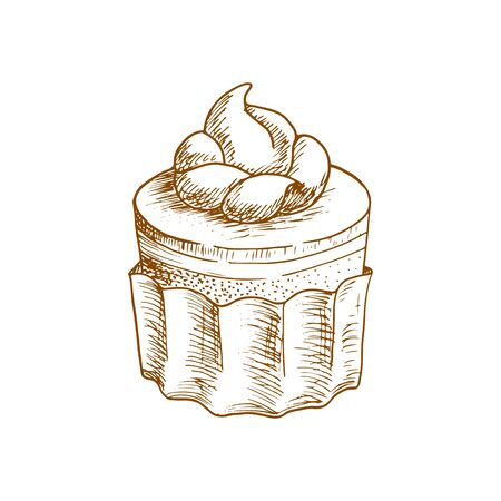 Cake topped by cream isolated sweet dessert sketch. Vector pastry food, round cupcake