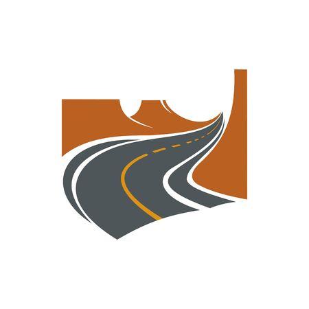 Speedway road isolated traffic sign, way to right. Vector asphalt speedway, empty highway Ilustración de vector