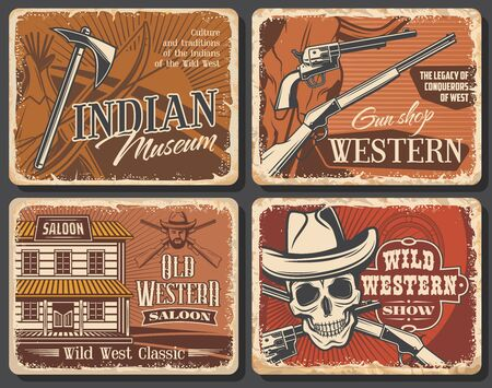 Western cowboy and Wild West saloon, skull and sheriff hat, shotgun and tomahawk, bow, Texas longhorn bull, revolver gun shop. American Western vintage vector grunge posters, rodeo show and Indian Vetores