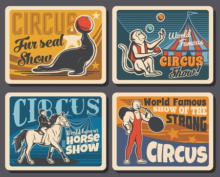 Big top tent circus, chapiteau carnival show with trained animals and strongman. Vector cirque big top tent, monkey and seal with juggling balls, horse with rider and strong man with barbell