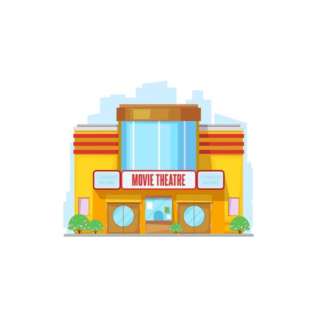 City building, cinema or movie theater. Vector facade, construction or public place, entertainment. Urban architecture with glass entrance, several storey and signboard on roof or wall, outdoor Illustration