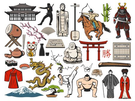 Japan symbol of Japanese travel vector design. Fuji mountain, Asian sushi food and temple pagoda, geisha, bonsai and origami, sakura tree, tea set and maneki neko cat, kimono, paper fan and torii gate
