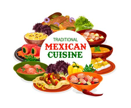 Mexican cuisine vector design of vegetable food with meat and fish. Stuffed peppers, tomato meatball and pumpkin soups, beef fajitas, estofado stew and seafood salad, steaks and baked cod Vektorgrafik