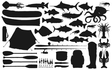 Fisherman equipment, tackle and fish black silhouettes of fishing sport vector design. Fishing rods, hooks and baits, boats, lure, reel and boots, salmon, tuna, perch and crab, octopus and squid Çizim