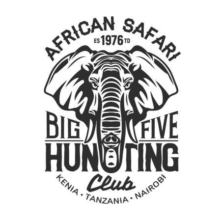 African safari elephant t-shirt print of hunting sport club vector design. Head of elephant animal with huge ears and tusks, big five hunting mammal custom apparel of safari tour and hunter club