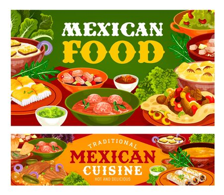 Mexican food vector design of vegetable, fish and meat restaurant dishes. Fajitas and burritos with tomato salsa and guacamole sauces, corn tortillas and meatball soups, beef steak and estofado stew