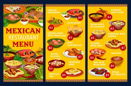 Mexican restaurant menu vector template with vegetable, meat and fish dishes. Beef fajitas, guacamole sauce and stuffed peppers, chicken wings, seafood salad, steak and estofado stew, soups, tortillas