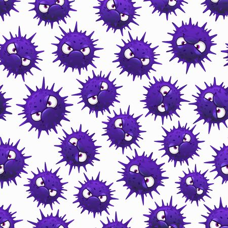 Coronavirus seamless pattern with cartoon bacteria on white background. Corona virus RNA Covid 19 barbed purple cells with angry faces and eyes. Quarantine, pandemic Covid19 germs or flu microbes Çizim
