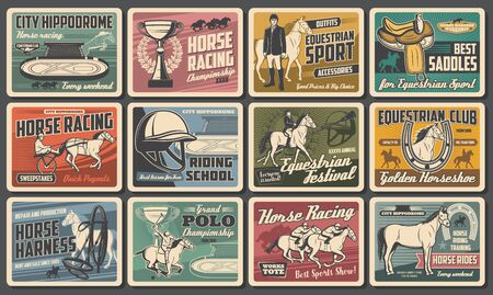 Racehorse and jockey retro posters of horse racing, equestrian sport, riding club and polo vector design. Race horses, riders and trophy cups, hippodrome, saddle and horseshoes, whip, mallet, helmet 일러스트