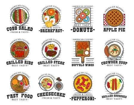 American cuisine restaurant isolated icons of vector food and drink. Thin line fast food burger, cheeseburger and hamburger sandwiches, grilled beef ribs, hot dog and fries, chicken, soup and salad Illustration