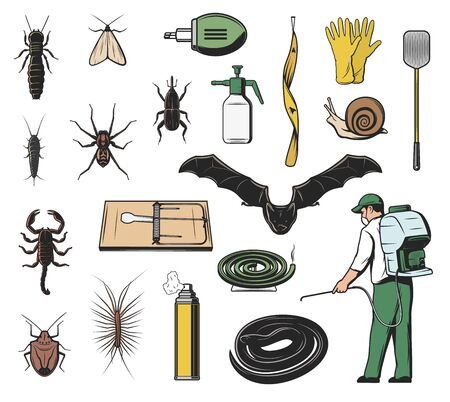 Pest control exterminator, insect, insecticide and rodent vector icons. Scorpion, weevil or snout beetle, bat, snake and spider, moth, snail and termite, mouse trap, fly flapper and repellent spray