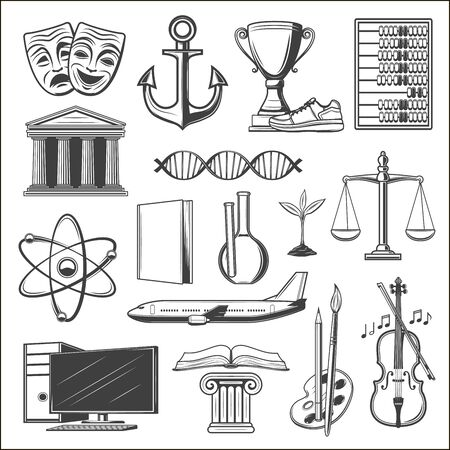 Education vector icons of university, school book, pencil and computer. Paintbrush, palette and chemistry laboratory glassware, sport trophy, DNA and atom model, violin music instrument, airplane Ilustração Vetorial