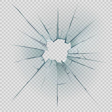 Broken, cracked or crashed glass vector design with realistic hole, shatters and cracks, sharp edges and fragments on transparent background. Damaged glass of window or door pane and windscreen