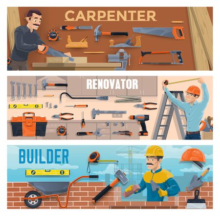 Construction industry worker vector banners with carpenter, builder, bricklayer, work tools and equipment. Handymen with hammer, drill and trowels, hard hats, toolbox and wheelbarrow, screwdriver, saw