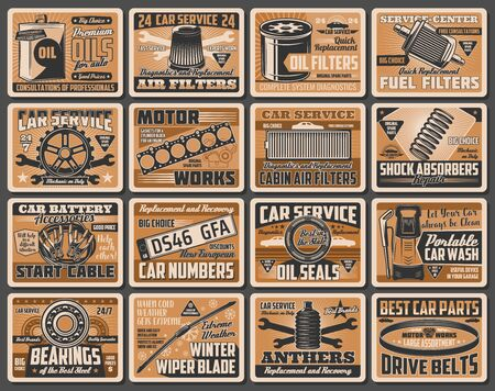 Car service vector posters with auto repair spare parts. Vehicle motor oil, spanner and wrench, fuel and air filters, bearings, mechanic gear and engine, wiper, car number, shock absorber, start cable