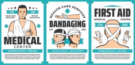 Bandage de premiers secours des blessures corporelles affiches médicales de la conception vectorielle de médecine d'urgence. Traitements des traumatismes, bandages sur les fractures du bras, entorses du coude, du poignet et des doigts, plaies de la tête et du menton Vecteurs