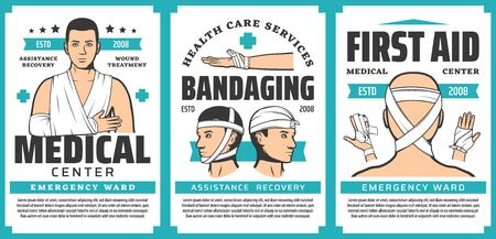 First aid bandaging of body injuries medical posters of emergency medicine vector design. Trauma treatments, bandages on arm fractures, elbow, wrist and finger joint sprains, head and chin wounds