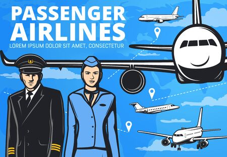 Airplane pilot and flight attendant with planes vector design of passenger airlines. Aircraft crew of captain and stewardess in uniform and airplanes on blue sky background, air travel themes