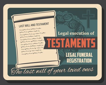 Funeral service, will and testament execution vector design of burial, cremation and interment. Memorial ceremony flower wreath with black ribbon, religious cross and bequest document
