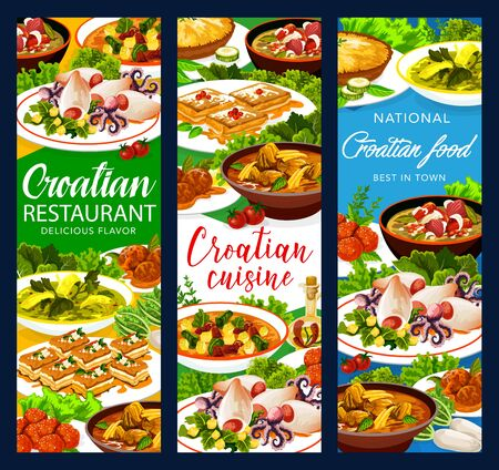 Croatian cuisine food vector banners, authentic restaurant meals menu. Croatian soup with young greens, krempita and sugar donut desserts, squids with potatoes and spinach, zagorsky strukli