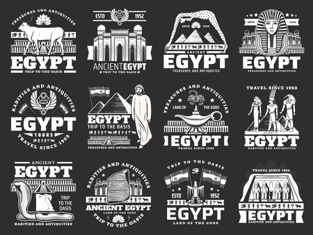 Egypt travel, vector tourism company icons for city tours, landmarks and sightseeing. Ancient Egypt famous wonders, Cairo pharaoh pyramids and sphinx, gods, sacred animals and mosque architecture Illustration