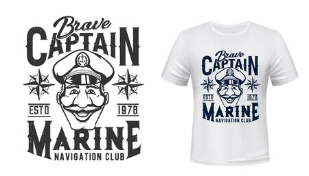 Marine T-shirt print, captain in hat with anchor, vector grunge navy blue template mockup. Sea and ocean ship and seafaring navigation club sign with blue grunge compass or wind rose emblem Vettoriali