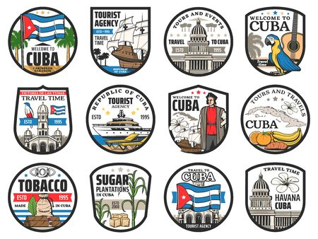 Cuba travel, Havana landmarks and city tours vector icons. Welcome to Cuba, history and culture tourism, sugar plantations and tobacco cigars, sea cruise and beach resort signs