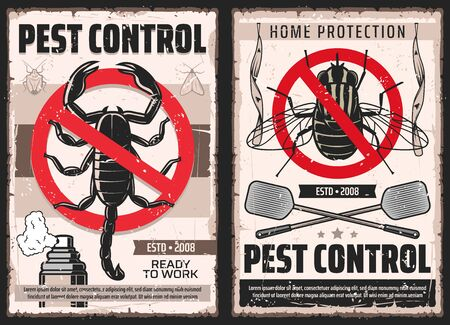 Pest control and house disinsection service, vector vintage retro posters. Domestic disinfestation, insects and pest control, scorpions extermination, ticks, flies, moth and bugs fumigation Vectores