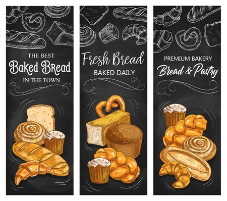 Bakery bread, vector chalk sketch banners, patisserie buns and pastry products. Baker shop wheat and rye bread loaf, bagels and buns, croissant, pretzel and sweet roll with cupcake Vetores