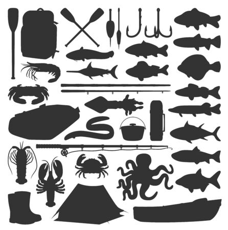 Fishing vector icons of fisherman equipment lures and fishes. Fishing rod, inflatable boat and camping tent, tackles and hooks for river carp and lake pike, perch, flounder and seafood crab