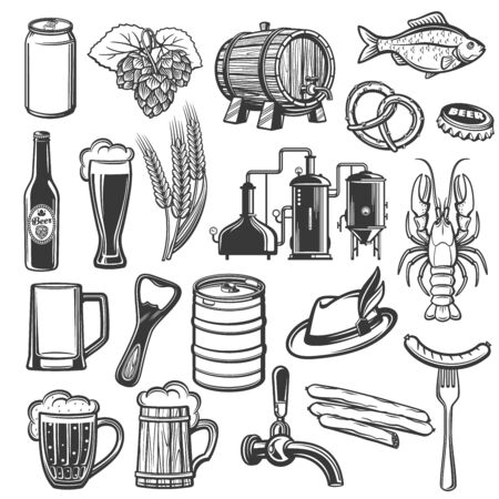 Oktoberfest German beer festival vector icons of food and traditional symbols. Bavarian craft beer in wooden barrel, bottle opener and Tyrolean hat, pint mug with froth and bratwurst sausage