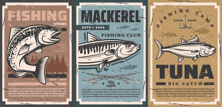 Fishing camp club and fisher equipment store vector vintage retro posters. Fishing rods and lures hooks for river pike, ocean tuna and sea mackerel big fish catch