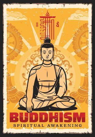 Buddhismus-Religion-Vektor-Vintage-Retro-Poster, Buddha-Meditationshaltung und Mudra-Hand. Buddhistische religiöse Anbetung, spirituelles Erwachen und Geisteserleuchtung, Dharma-Lehre und tibetische Philosophie
